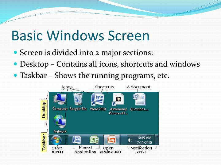 Basic windows screen