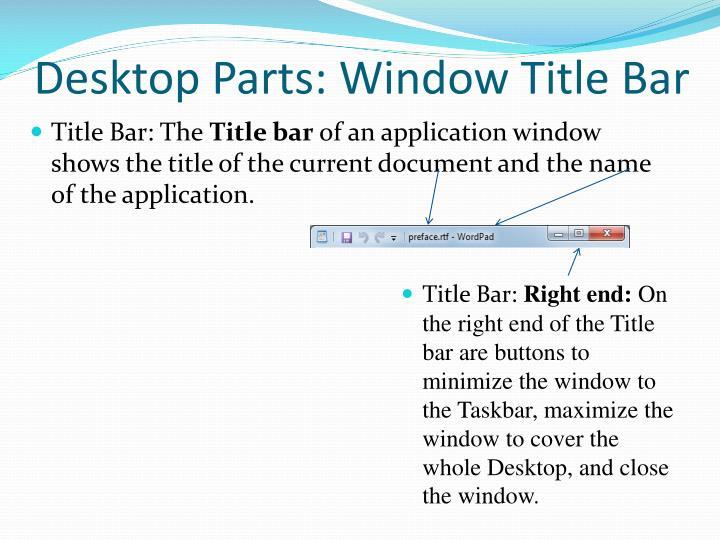 Desktop Parts: Window Title Bar