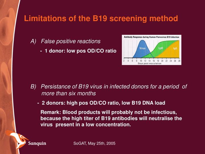 Limitations of the B19 screening method