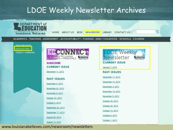 LDOE Weekly Newsletter Archives