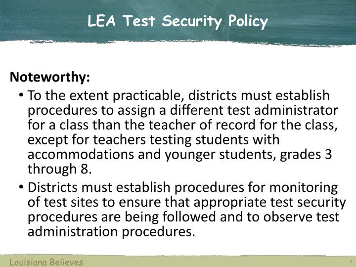 LEA Test Security Policy