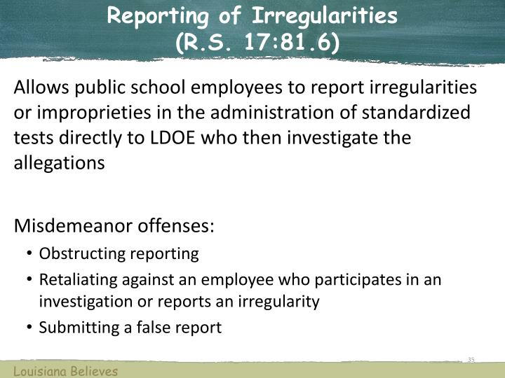 Reporting of Irregularities