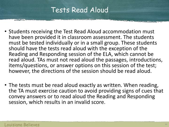 Tests Read Aloud