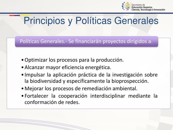 Principios y Políticas Generales