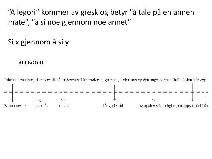 """""""Allegori"""" kommer av gresk og betyr """"å tale på en annen måte"""", """"å si noe gjennom noe annet"""""""