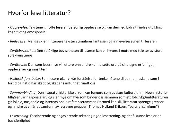 Hvorfor lese litteratur?