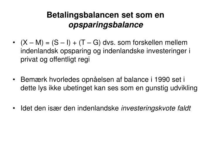Betalingsbalancen set som en