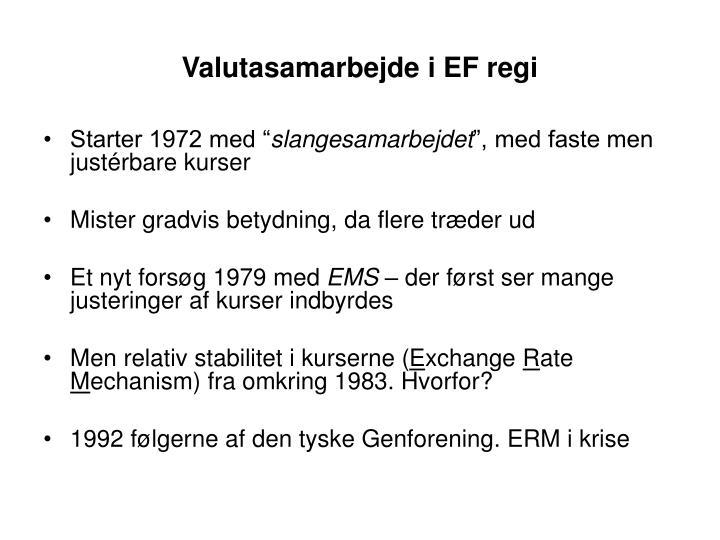 Valutasamarbejde i EF regi