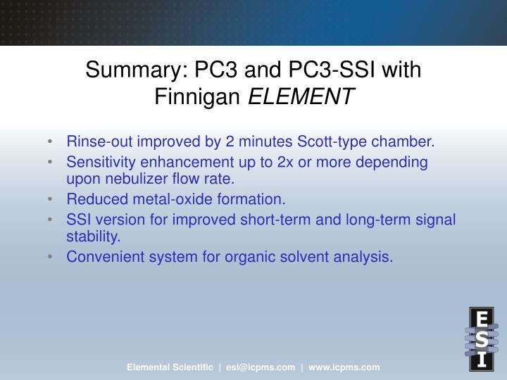 Summary: PC3 and PC3-SSI with Finnigan