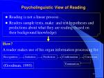 psycholinguistic view of reading