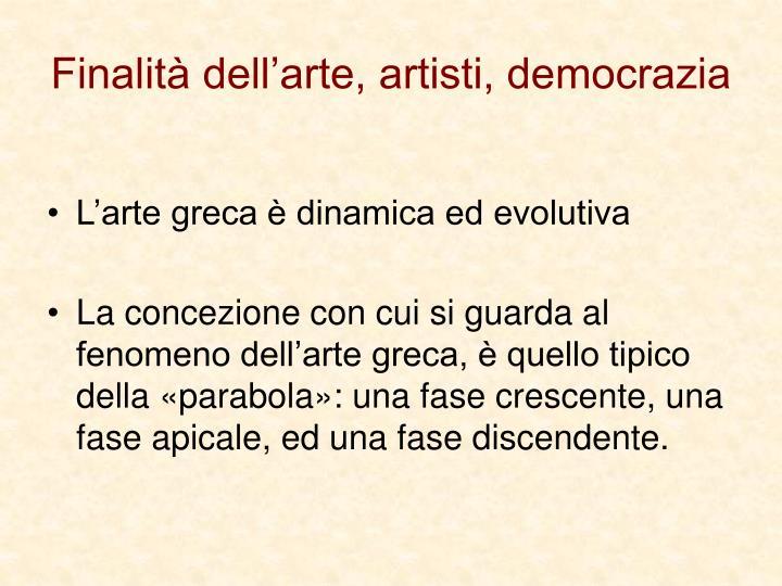 Finalità dell'arte, artisti, democrazia