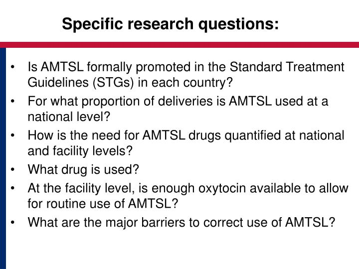 Specific research questions: