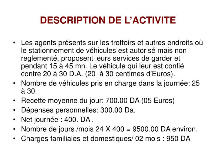 DESCRIPTION DE L'ACTIVITE