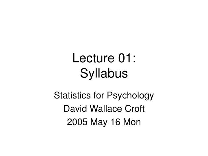 Lecture 01 syllabus