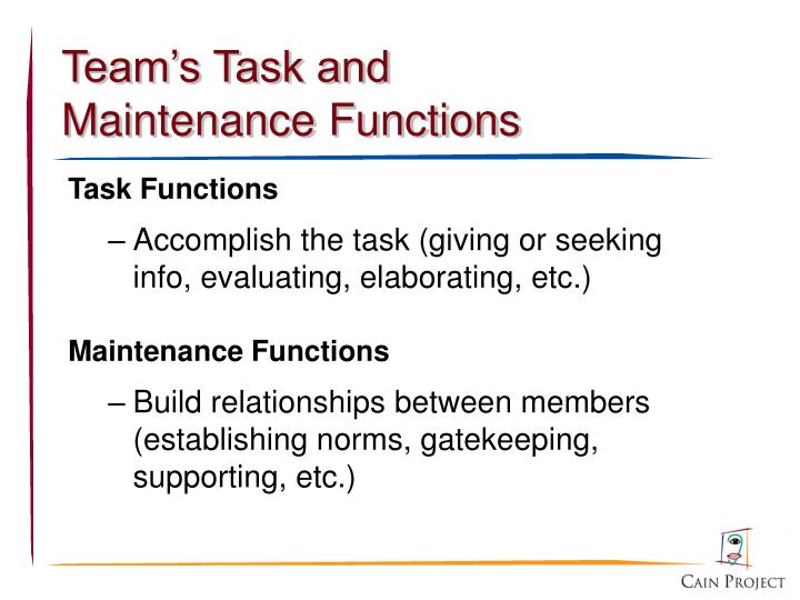 Team's Task and Maintenance Functions