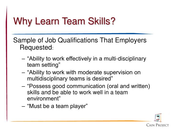 Why learn team skills