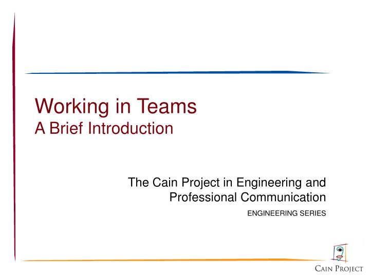 Working in teams a brief introduction