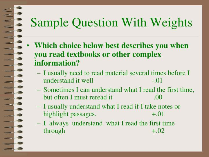 Sample Question With Weights