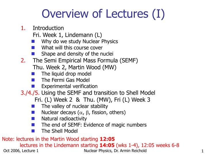 overview of lectures i n.