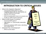 introduction to critical issues