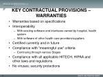 key contractual provisions warranties