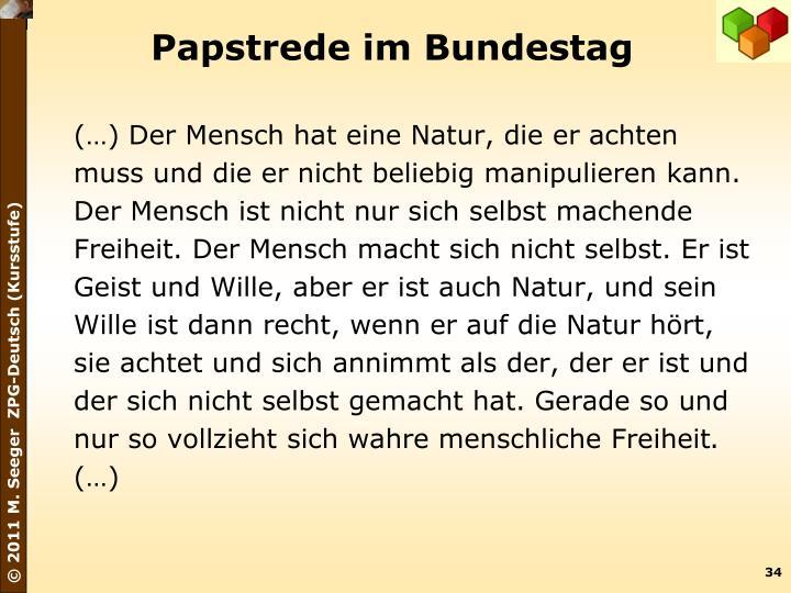 Papstrede im Bundestag
