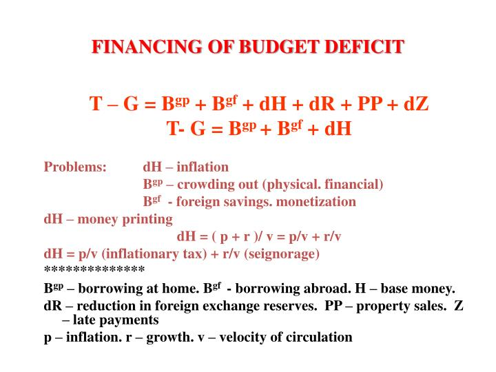 FINANCING OF BUDGET DEFICIT