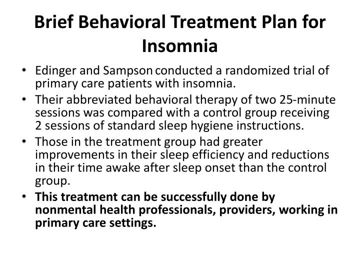 Brief Behavioral Treatment Plan for Insomnia