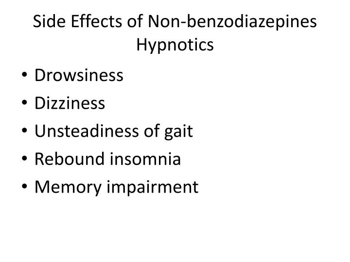 Side Effects of Non-benzodiazepines Hypnotics
