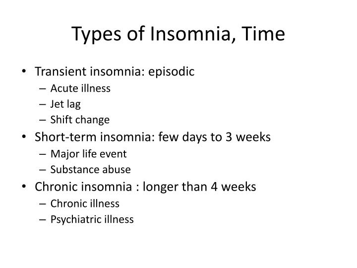 Types of Insomnia, Time