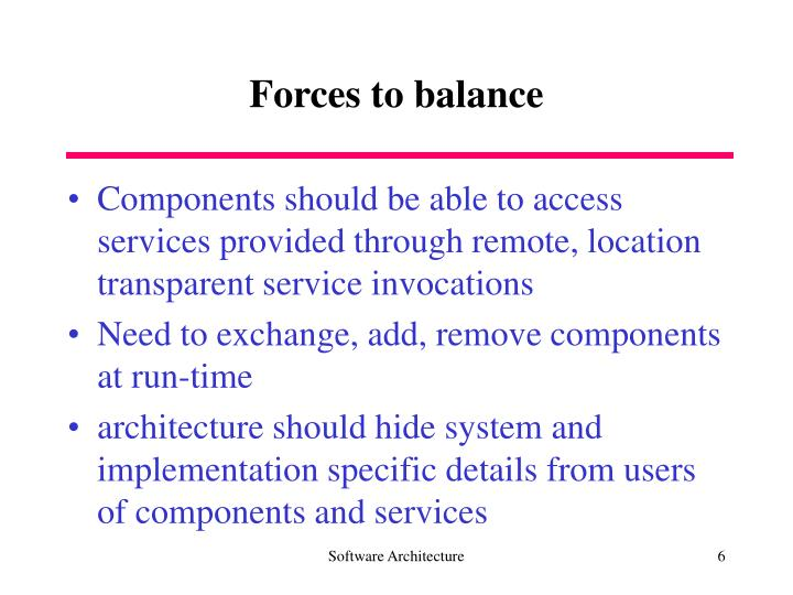 Forces to balance