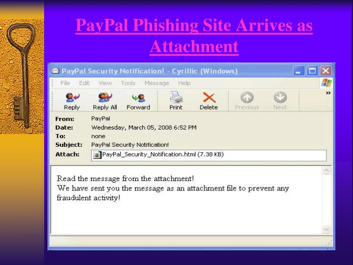 PayPal Phishing Site Arrives as Attachment