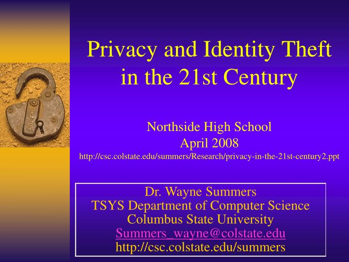 Privacy and Identity Theft