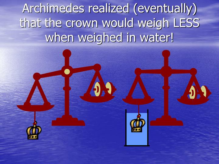 Archimedes realized eventually that the crown would weigh less when weighed in water