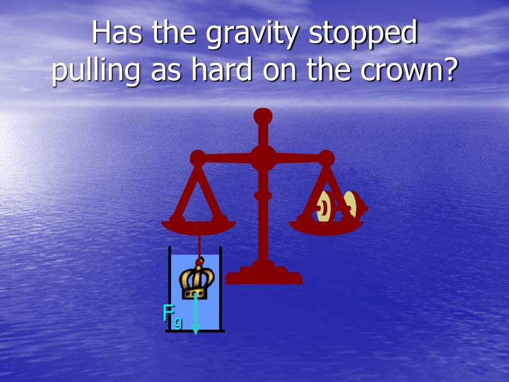 Has the gravity stopped pulling as hard on the crown?