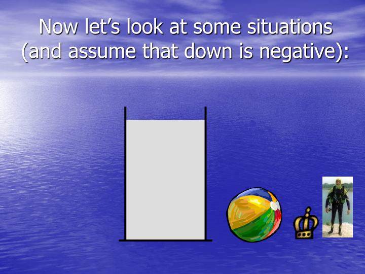 Now let's look at some situations (and assume that down is negative):