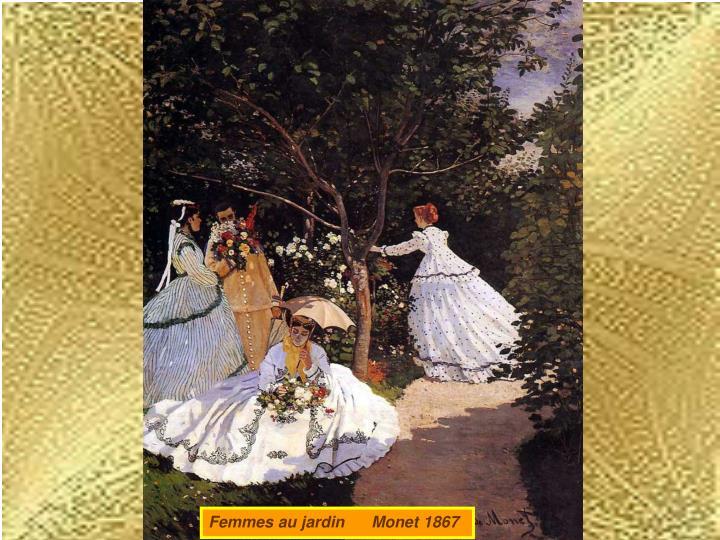 Femmes au jardin      Monet 1867