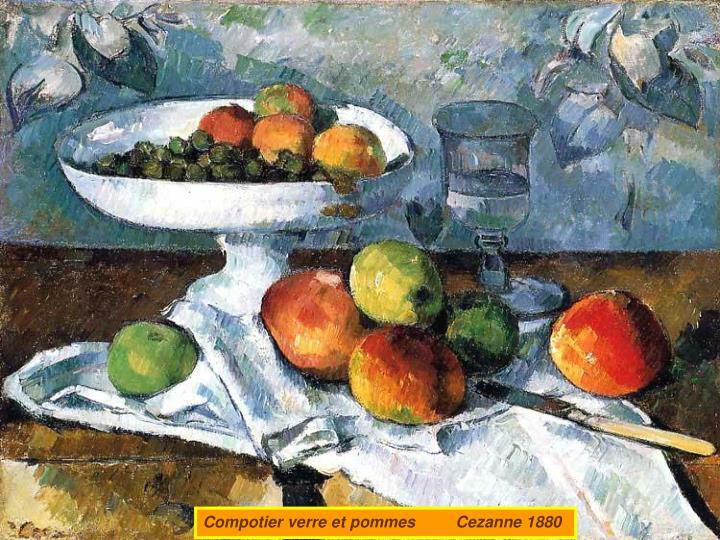 Compotier verre et pommes         Cezanne 1880