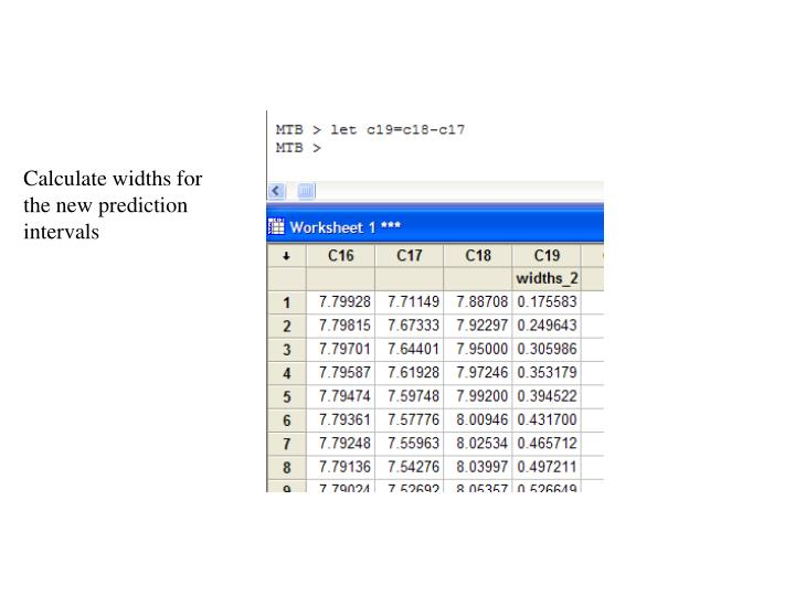 Calculate widths for the new prediction intervals