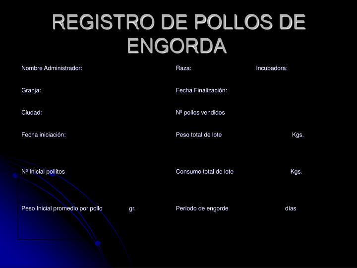 REGISTRO DE POLLOS DE ENGORDA