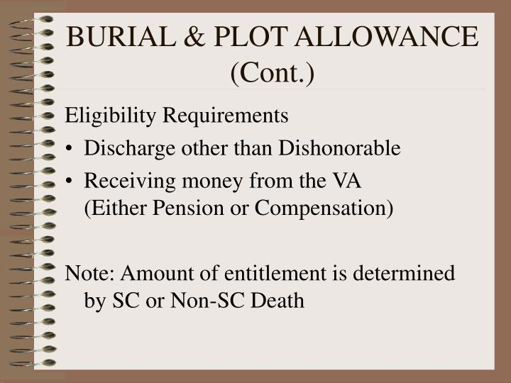 BURIAL & PLOT ALLOWANCE (Cont.)