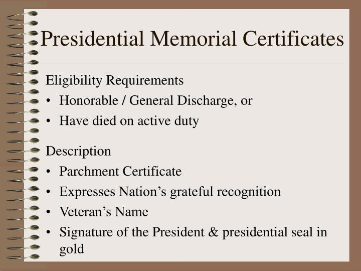 Presidential Memorial Certificates