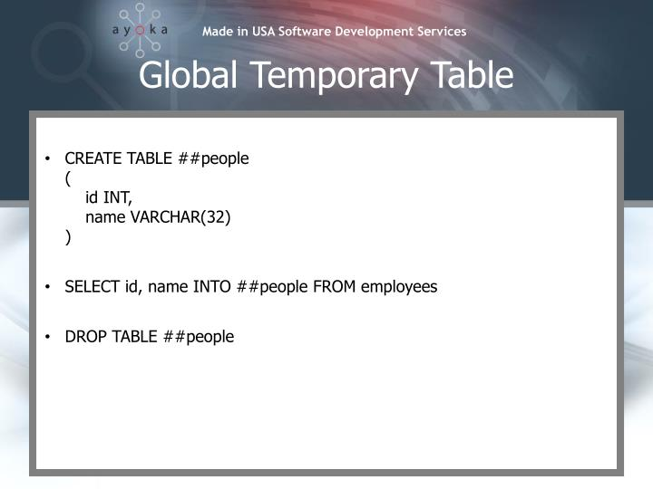 Global Temporary Table