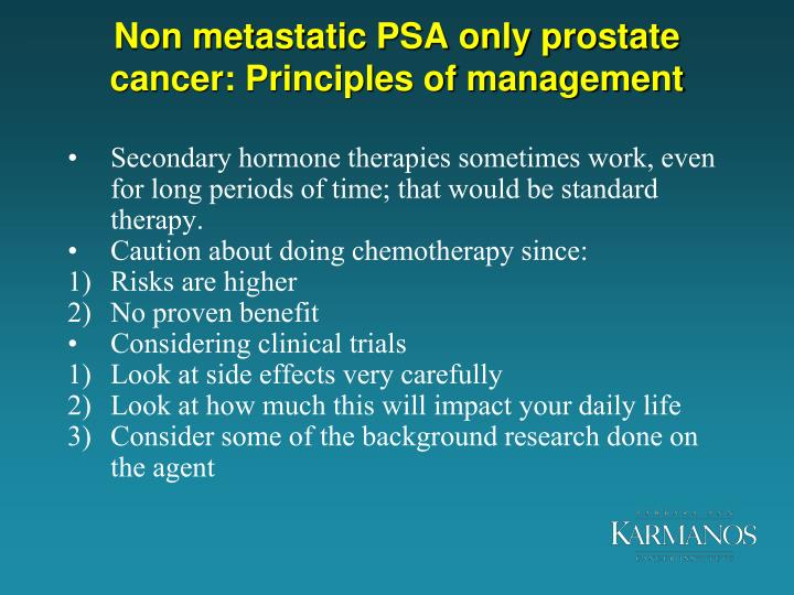 Non metastatic PSA only prostate cancer: Principles of management