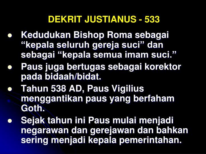 DEKRIT JUSTIANUS - 533