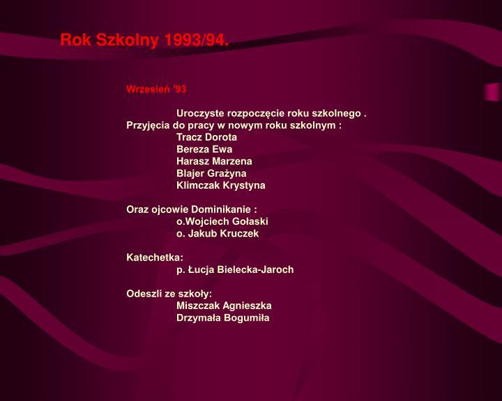 Rok Szkolny 1993/94.