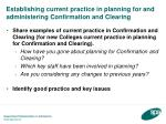 establishing current practice in planning for and administering confirmation and clearing