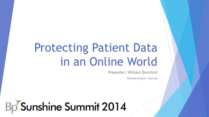 Protecting patient data in an online world