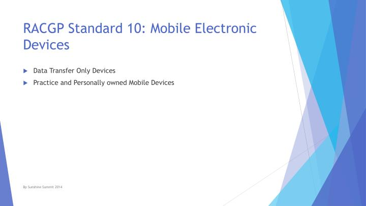 RACGP Standard 10: Mobile Electronic Devices
