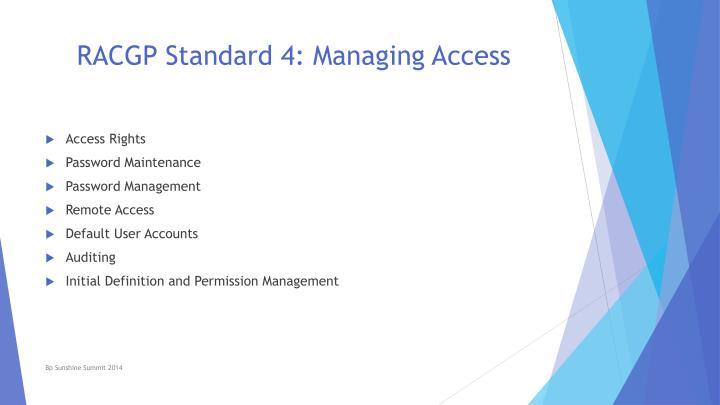 RACGP Standard 4: Managing Access